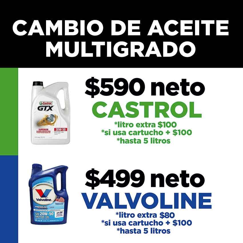 Aceite Castrol y Valvoline en Monterrey